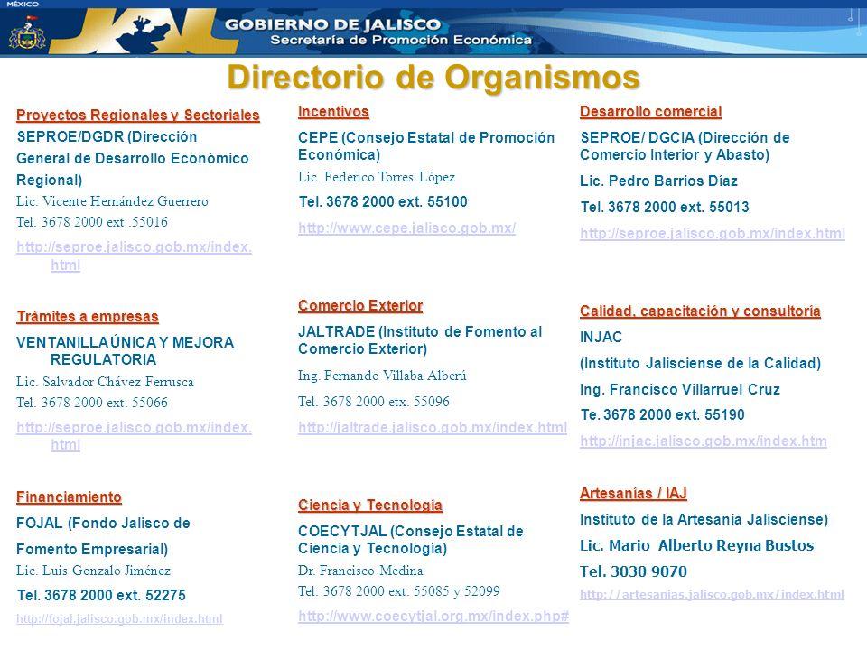 Directorio de Organismos Proyectos Regionales y Sectoriales SEPROE/DGDR (Dirección General de Desarrollo Económico Regional) Lic. Vicente Hernández Gu
