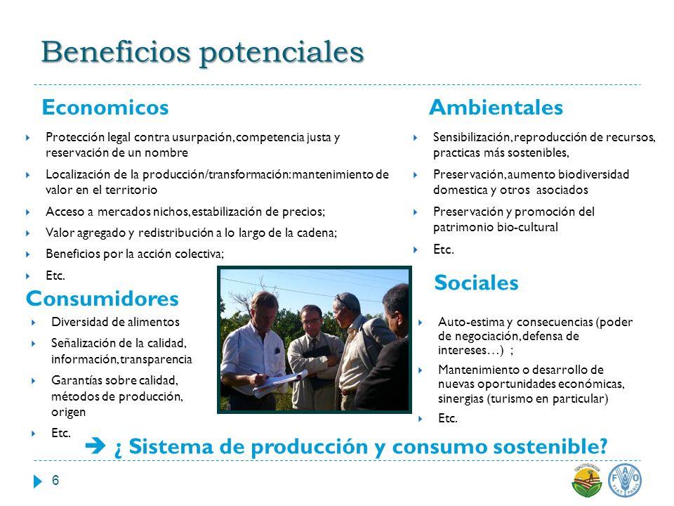 Beneficios potenciales Economicos Ambientales Protección legal contra usurpación, competencia justa y reservación de un nombre Localización de la prod