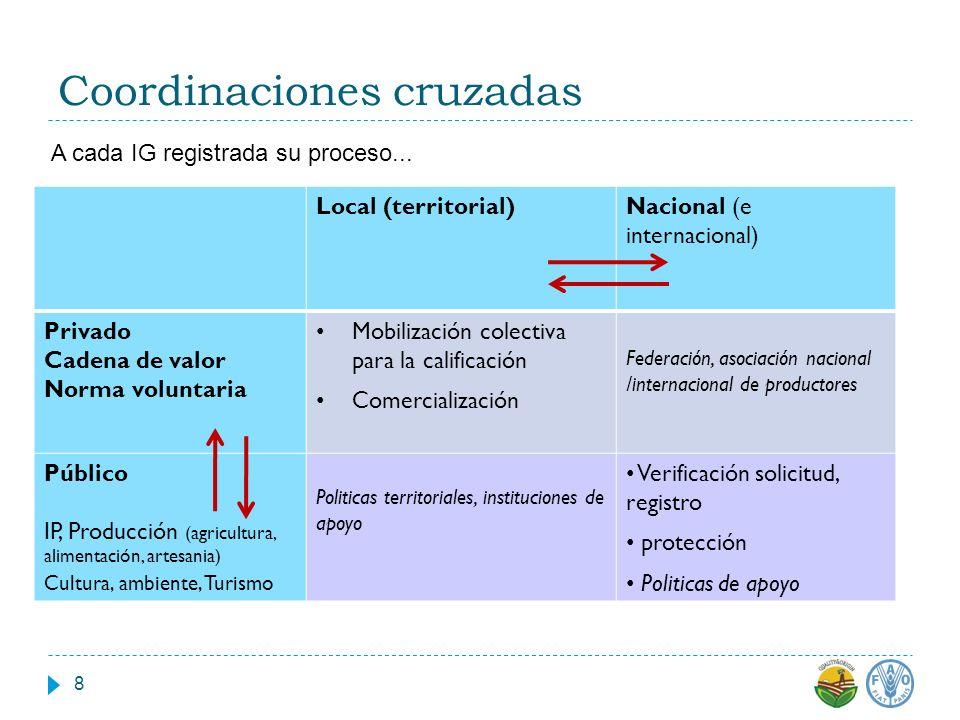 Coordinaciones cruzadas Local (territorial)Nacional (e internacional) Privado Cadena de valor Norma voluntaria Mobilización colectiva para la califica