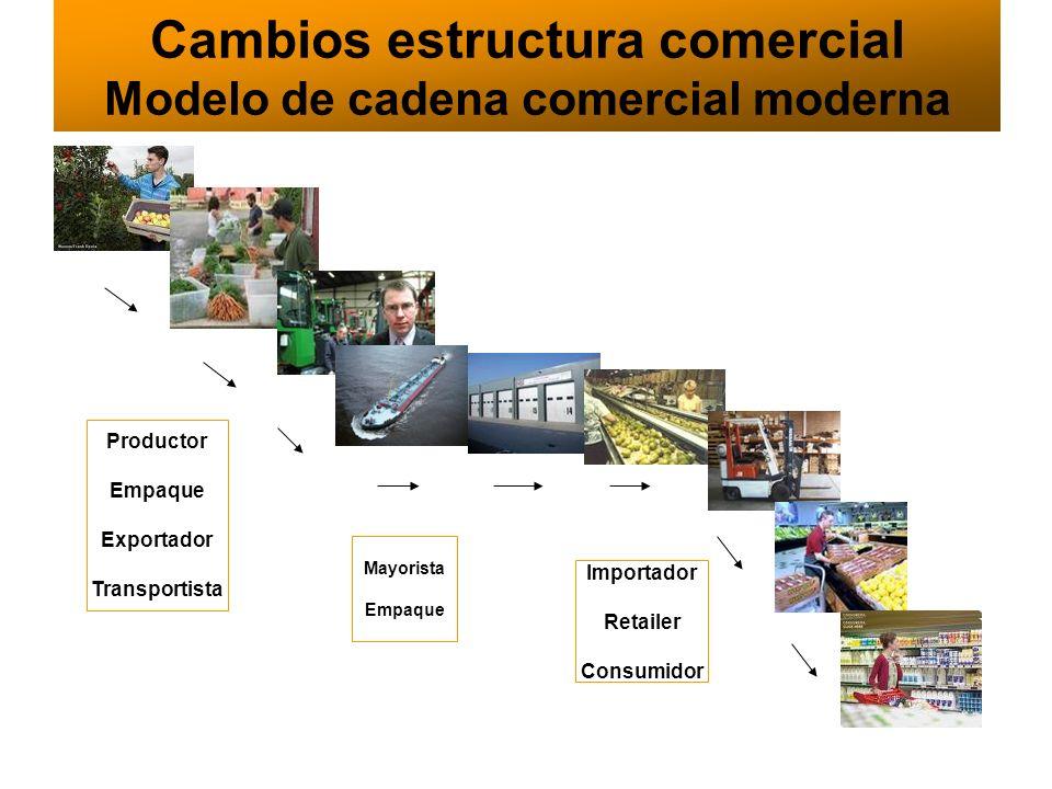 Cambios estructura comercial Modelo de cadena comercial moderna Importador Retailer Consumidor Mayorista Empaque Productor Empaque Exportador Transpor