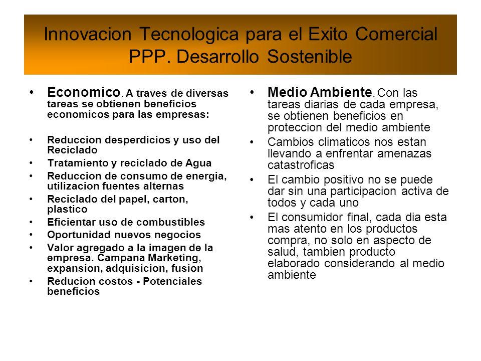 Innovacion Tecnologica para el Exito Comercial PPP. Desarrollo Sostenible Economico. A traves de diversas tareas se obtienen beneficios economicos par