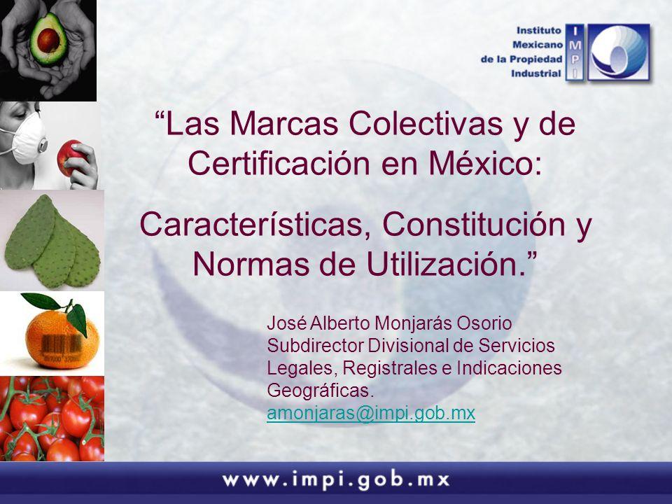 Las Marcas Colectivas y de Certificación en México: Características, Constitución y Normas de Utilización. José Alberto Monjarás Osorio Subdirector Di