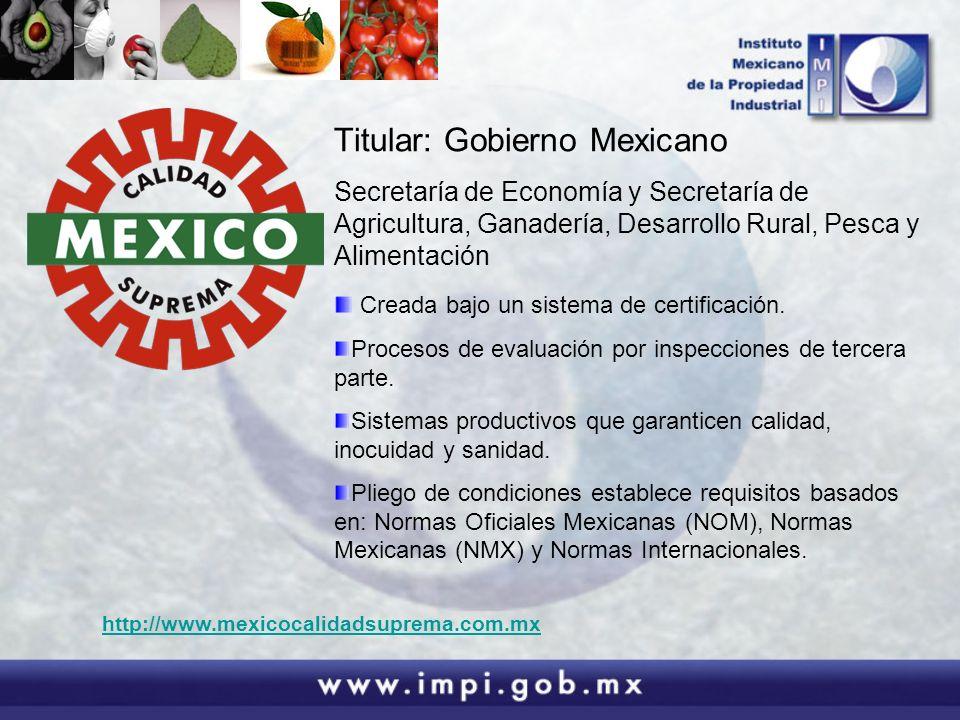 Titular: Gobierno Mexicano Secretaría de Economía y Secretaría de Agricultura, Ganadería, Desarrollo Rural, Pesca y Alimentación Creada bajo un sistem