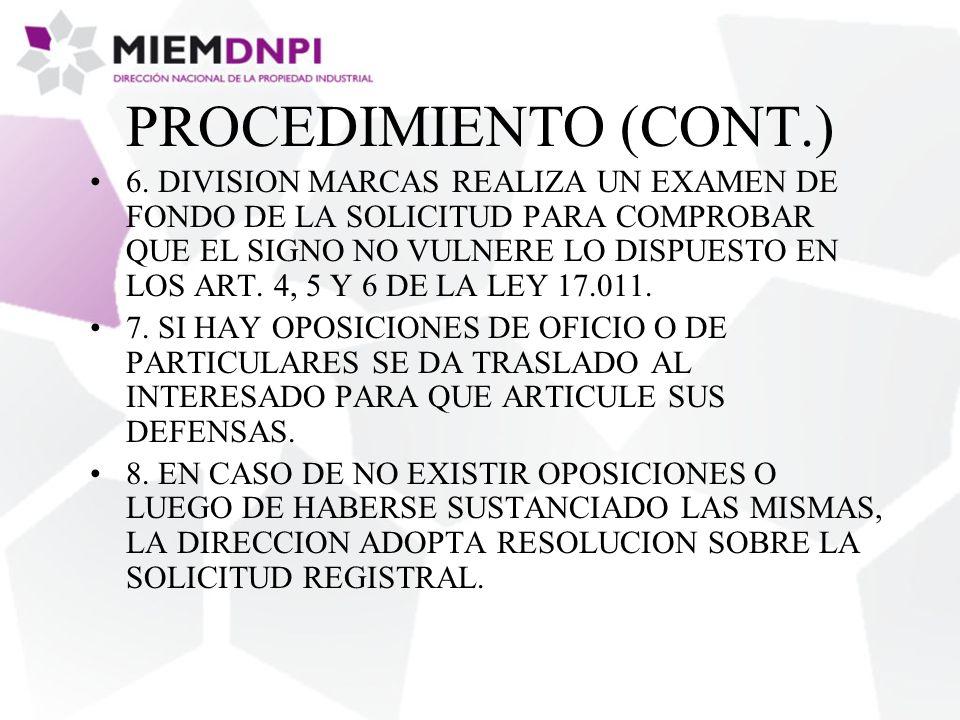 PROCEDIMIENTO (CONT.) 6.