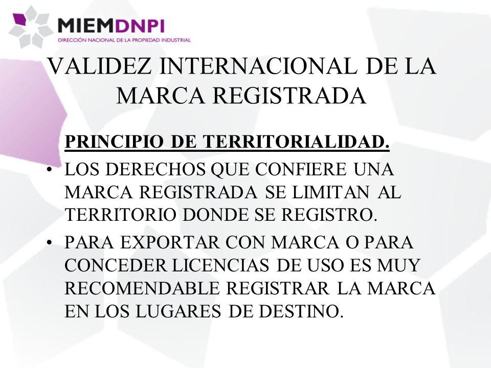 VALIDEZ INTERNACIONAL DE LA MARCA REGISTRADA PRINCIPIO DE TERRITORIALIDAD.
