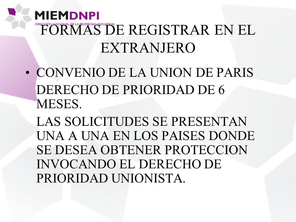FORMAS DE REGISTRAR EN EL EXTRANJERO CONVENIO DE LA UNION DE PARIS DERECHO DE PRIORIDAD DE 6 MESES.