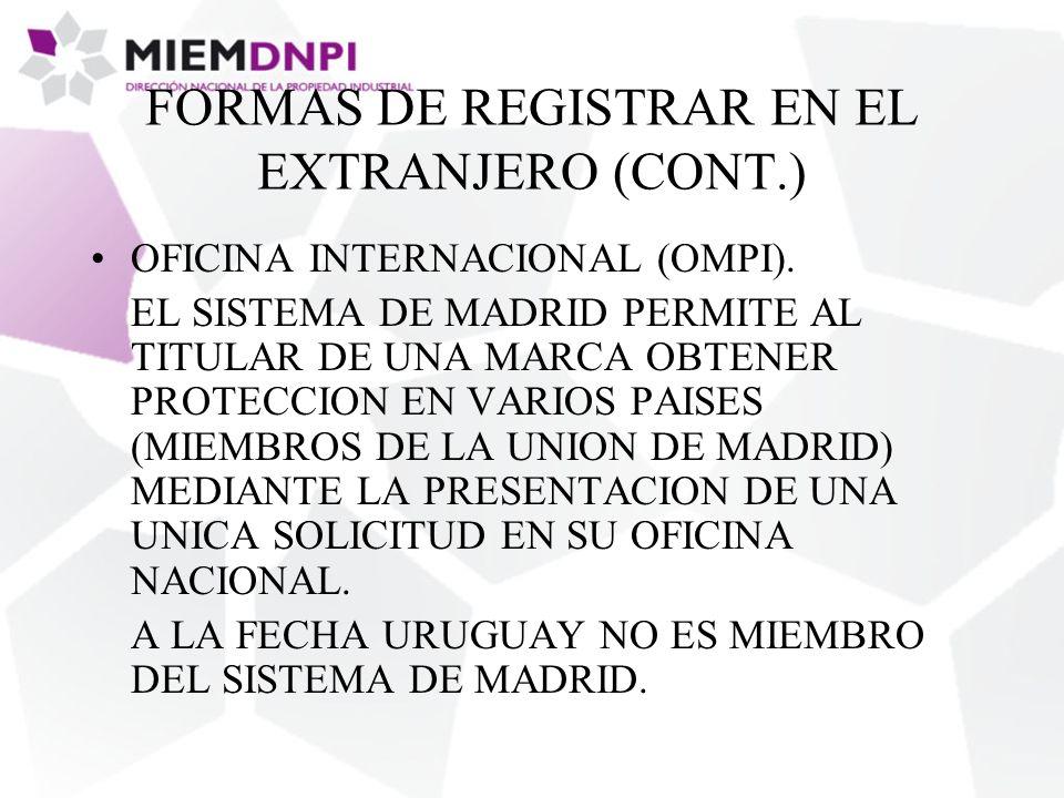 FORMAS DE REGISTRAR EN EL EXTRANJERO (CONT.) OFICINA INTERNACIONAL (OMPI).