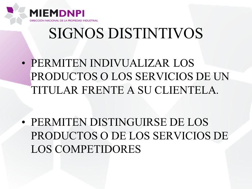 SIGNOS DISTINTIVOS PERMITEN INDIVUALIZAR LOS PRODUCTOS O LOS SERVICIOS DE UN TITULAR FRENTE A SU CLIENTELA.