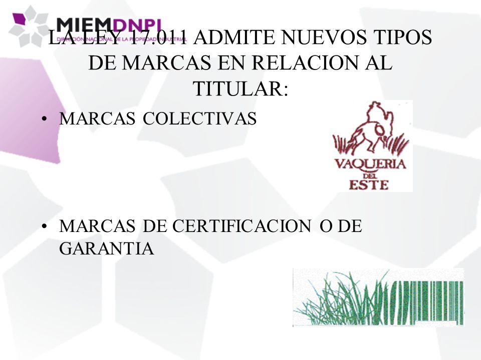 LA LEY 17.011 ADMITE NUEVOS TIPOS DE MARCAS EN RELACION AL TITULAR: MARCAS COLECTIVAS MARCAS DE CERTIFICACION O DE GARANTIA