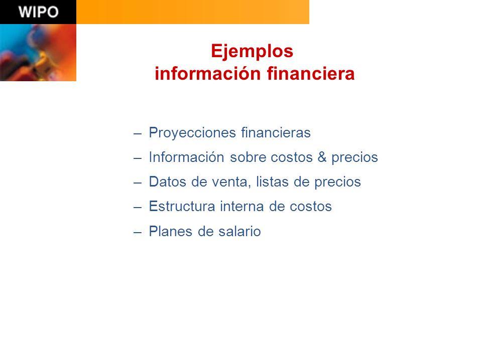 –Proyecciones financieras –Información sobre costos & precios –Datos de venta, listas de precios –Estructura interna de costos –Planes de salario Ejemplos información financiera