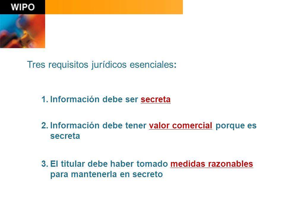 Tres requisitos jurídicos esenciales: 1.Información debe ser secreta 2.Información debe tener valor comercial porque es secreta 3.El titular debe haber tomado medidas razonables para mantenerla en secreto