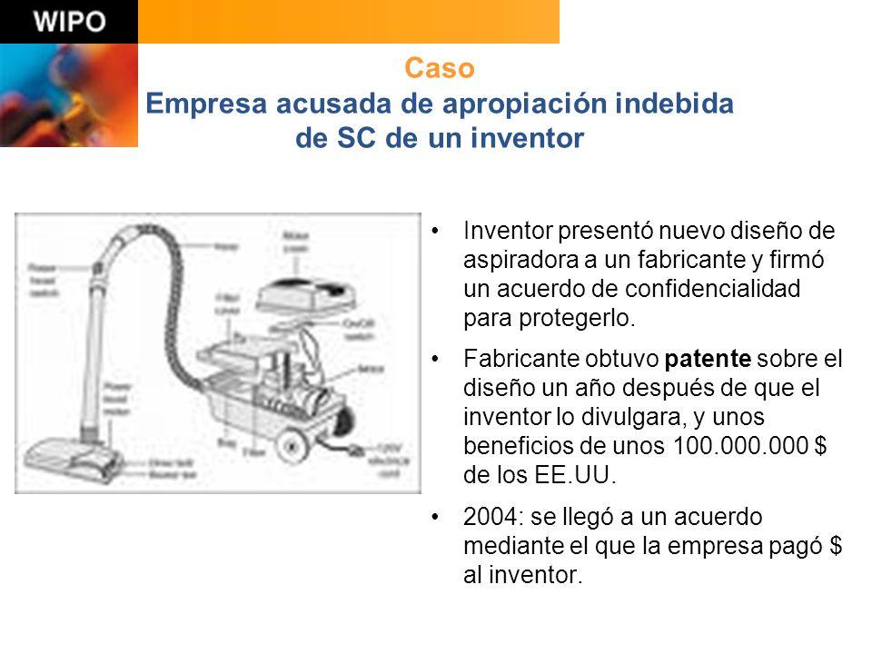 Caso Empresa acusada de apropiación indebida de SC de un inventor Inventor presentó nuevo diseño de aspiradora a un fabricante y firmó un acuerdo de confidencialidad para protegerlo.