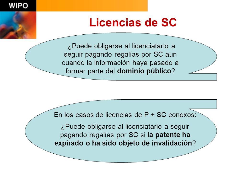 Licencias de SC ¿Puede obligarse al licenciatario a seguir pagando regalías por SC aun cuando la información haya pasado a formar parte del dominio público.