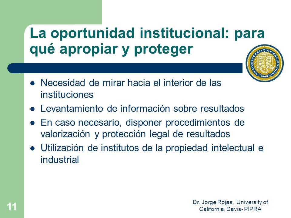 Dr. Jorge Rojas, University of California, Davis- PIPRA 11 La oportunidad institucional: para qué apropiar y proteger Necesidad de mirar hacia el inte