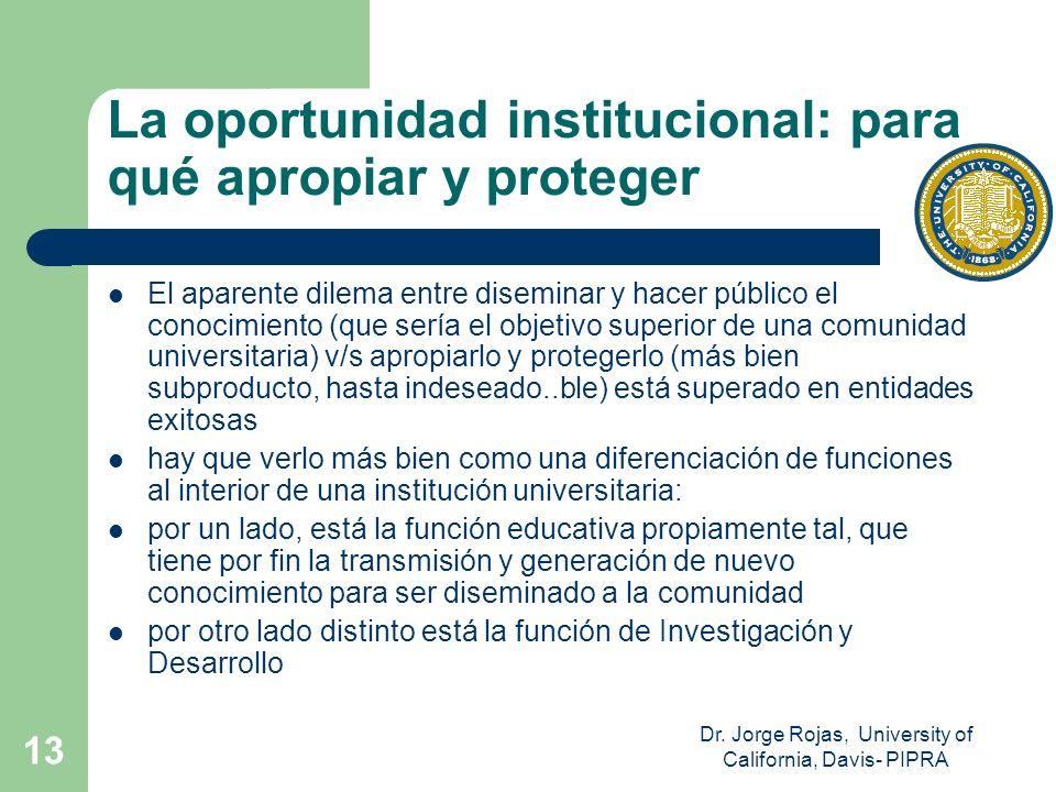 Dr. Jorge Rojas, University of California, Davis- PIPRA 13 La oportunidad institucional: para qué apropiar y proteger El aparente dilema entre disemin