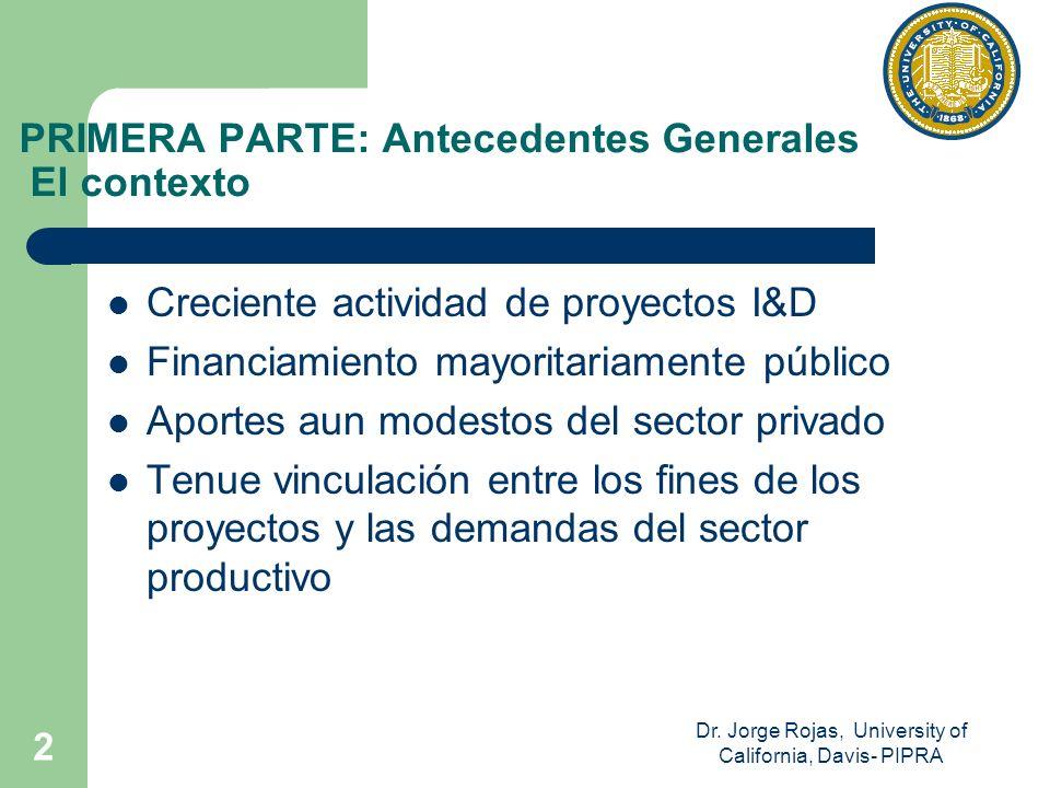 Dr. Jorge Rojas, University of California, Davis- PIPRA 2 PRIMERA PARTE: Antecedentes Generales El contexto Creciente actividad de proyectos I&D Finan