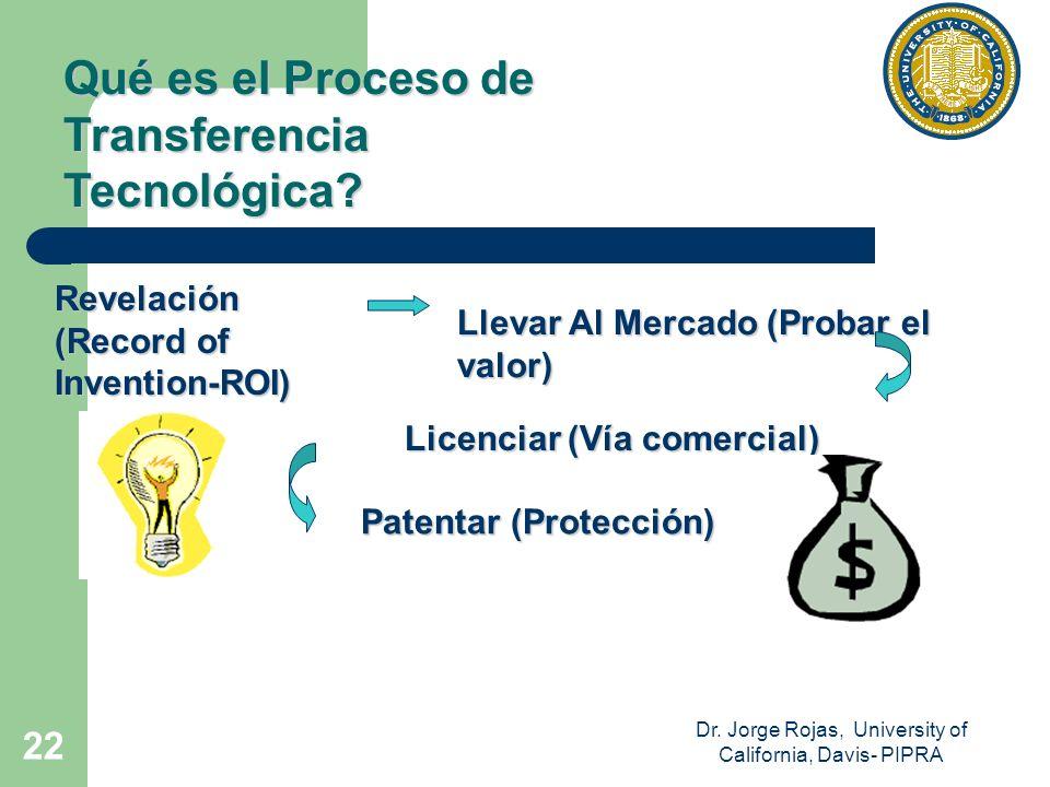 Dr. Jorge Rojas, University of California, Davis- PIPRA 22 Qué es el Proceso de Transferencia Tecnológica? Revelación (Record of Invention-ROI) Llevar