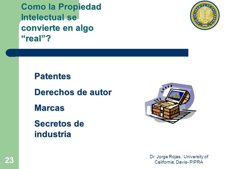 Dr. Jorge Rojas, University of California, Davis- PIPRA 23 Patentes Derechos de autor Marcas Secretos de industria Como la Propiedad Intelectual se co