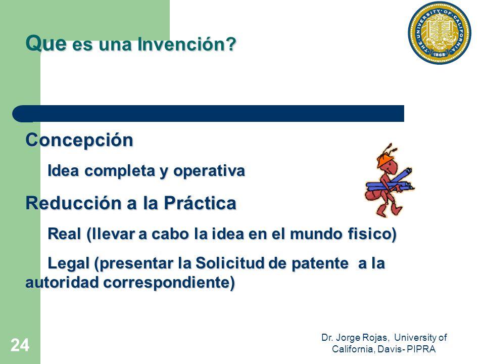 Dr. Jorge Rojas, University of California, Davis- PIPRA 24 Concepción Idea completa y operativa Idea completa y operativa Reducción a la Práctica Real