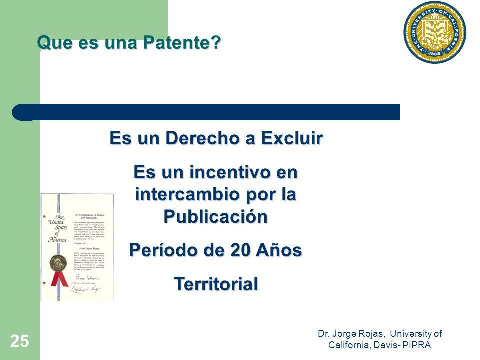 Dr. Jorge Rojas, University of California, Davis- PIPRA 25 Es un Derecho a Excluir Es un incentivo en intercambio por la Publicación Período de 20 Año