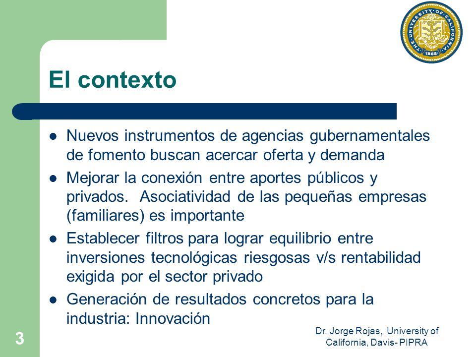 Dr. Jorge Rojas, University of California, Davis- PIPRA 3 El contexto Nuevos instrumentos de agencias gubernamentales de fomento buscan acercar oferta