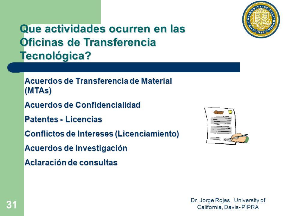 Dr. Jorge Rojas, University of California, Davis- PIPRA 31 Que actividades ocurren en las Oficinas de Transferencia Tecnológica? Acuerdos de Transfere