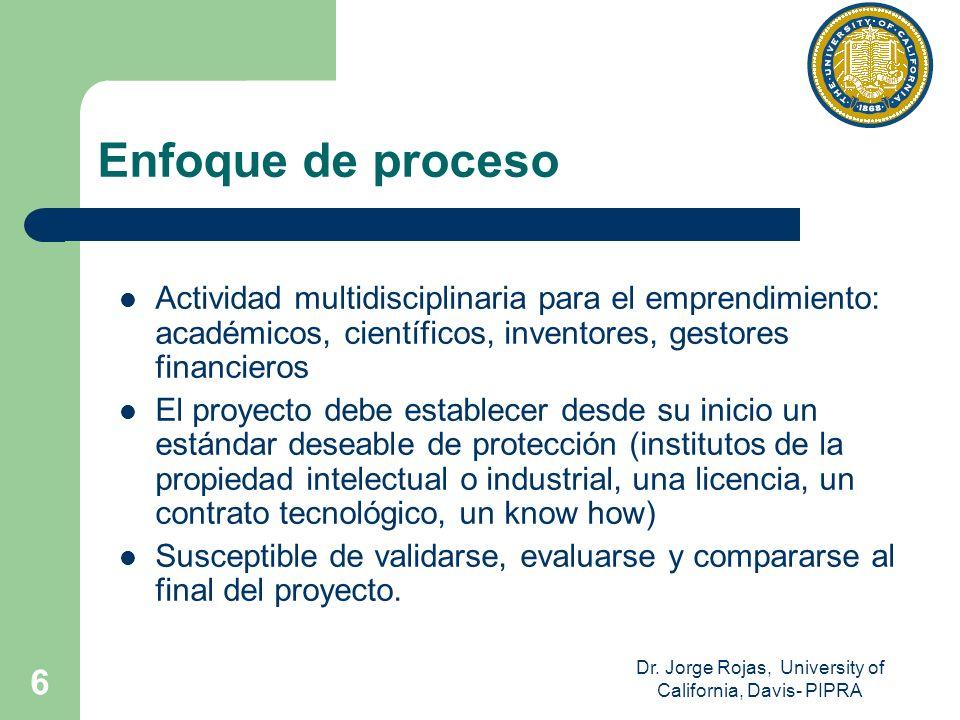 Dr. Jorge Rojas, University of California, Davis- PIPRA 6 Enfoque de proceso Actividad multidisciplinaria para el emprendimiento: académicos, científi