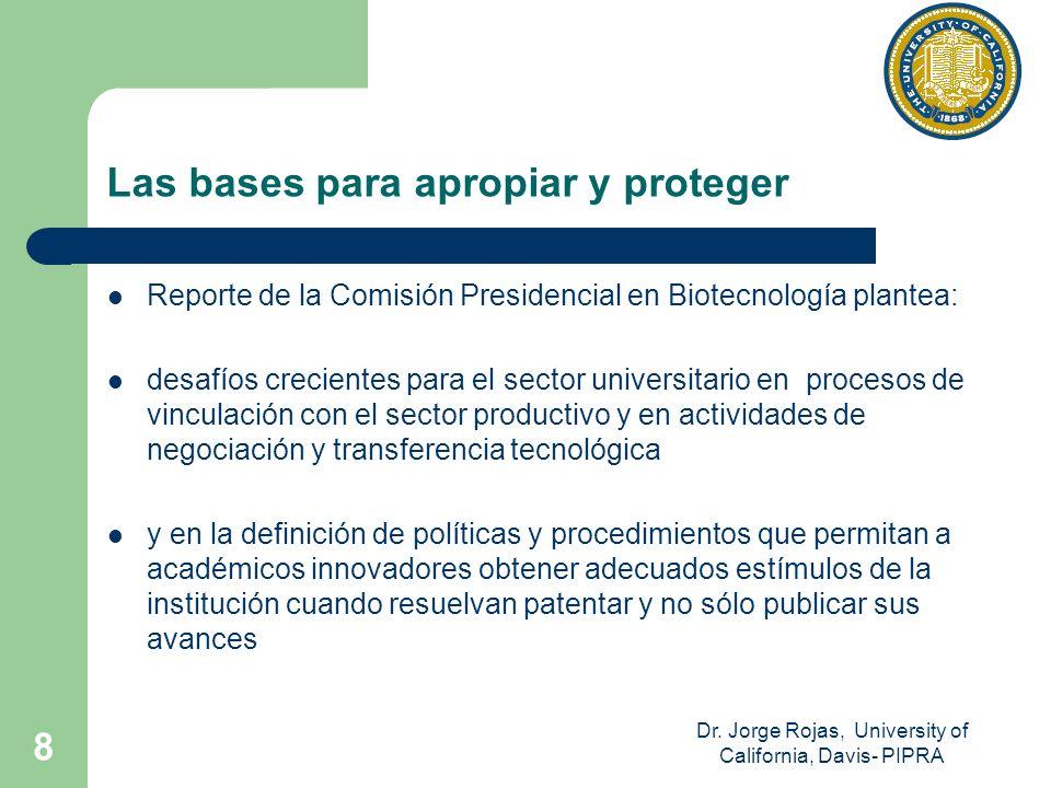 Dr. Jorge Rojas, University of California, Davis- PIPRA 8 Las bases para apropiar y proteger Reporte de la Comisión Presidencial en Biotecnología plan