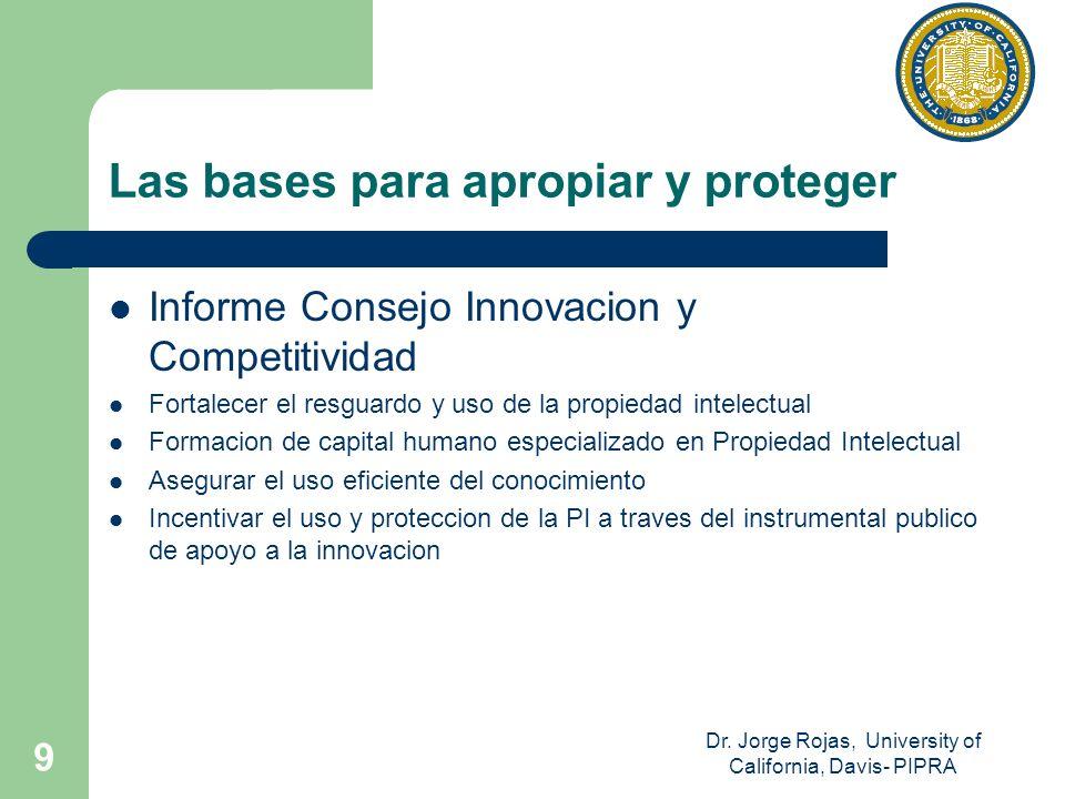 Dr. Jorge Rojas, University of California, Davis- PIPRA 9 Las bases para apropiar y proteger Informe Consejo Innovacion y Competitividad Fortalecer el