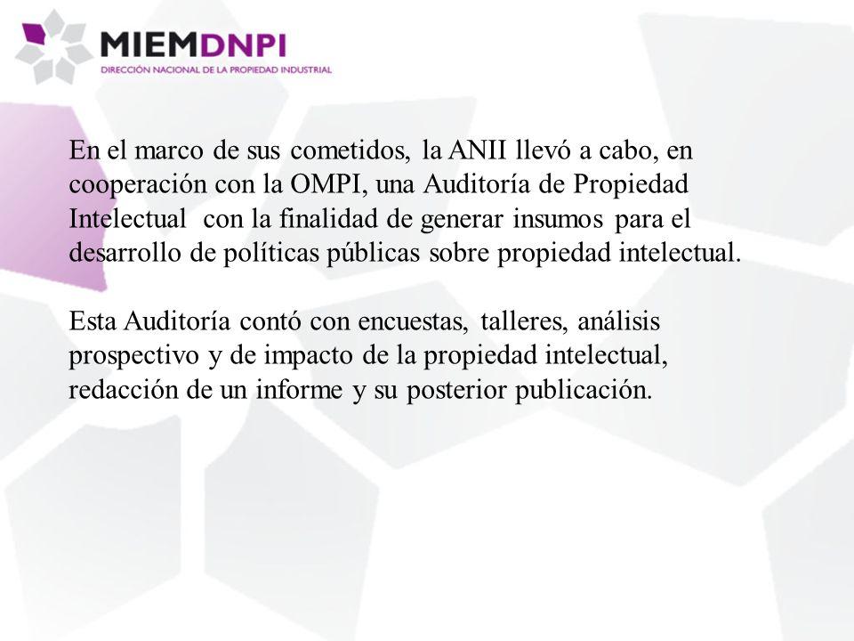 En el marco de sus cometidos, la ANII llevó a cabo, en cooperación con la OMPI, una Auditoría de Propiedad Intelectual con la finalidad de generar insumos para el desarrollo de políticas públicas sobre propiedad intelectual.
