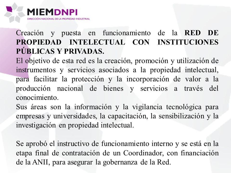Creación y puesta en funcionamiento de la RED DE PROPIEDAD INTELECTUAL CON INSTITUCIONES PÚBLICAS Y PRIVADAS.