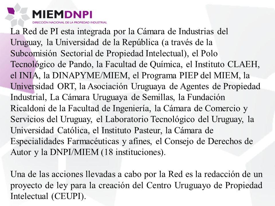 La Red de PI esta integrada por la Cámara de Industrias del Uruguay, la Universidad de la República (a través de la Subcomisión Sectorial de Propiedad Intelectual), el Polo Tecnológico de Pando, la Facultad de Química, el Instituto CLAEH, el INIA, la DINAPYME/MIEM, el Programa PIEP del MIEM, la Universidad ORT, la Asociación Uruguaya de Agentes de Propiedad Industrial, La Cámara Uruguaya de Semillas, la Fundación Ricaldoni de la Facultad de Ingeniería, la Cámara de Comercio y Servicios del Uruguay, el Laboratorio Tecnológico del Uruguay, la Universidad Católica, el Instituto Pasteur, la Cámara de Especialidades Farmacéuticas y afines, el Consejo de Derechos de Autor y la DNPI/MIEM (18 instituciones).