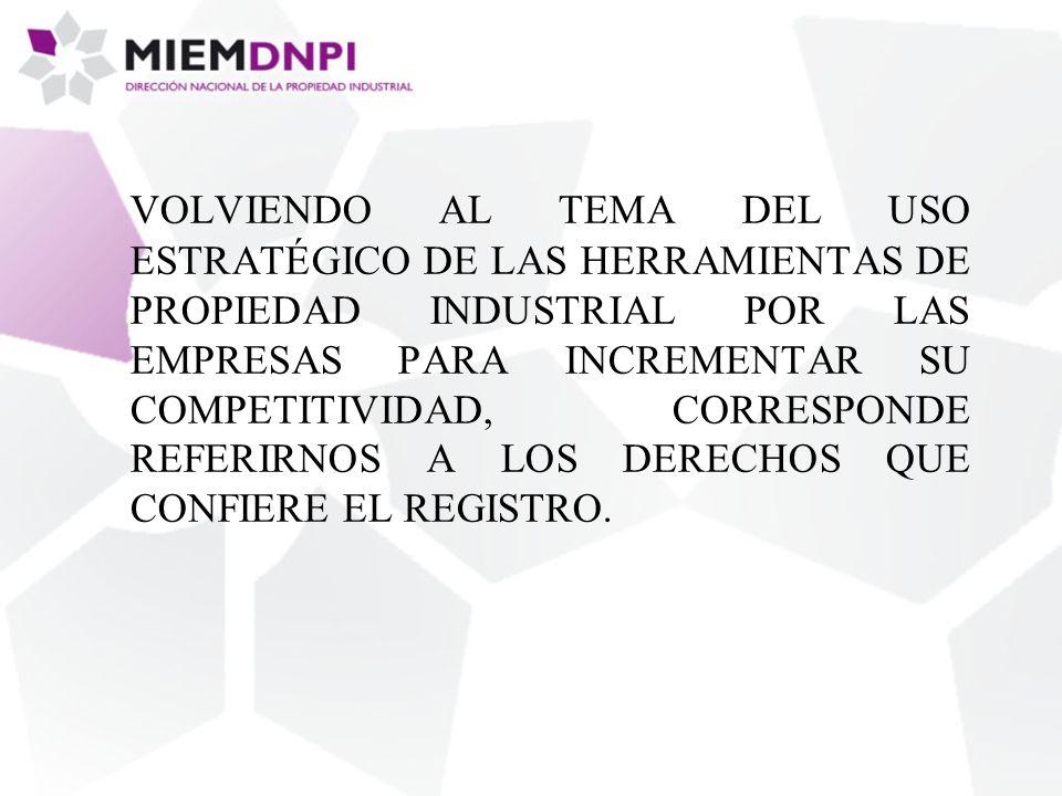 VOLVIENDO AL TEMA DEL USO ESTRATÉGICO DE LAS HERRAMIENTAS DE PROPIEDAD INDUSTRIAL POR LAS EMPRESAS PARA INCREMENTAR SU COMPETITIVIDAD, CORRESPONDE REFERIRNOS A LOS DERECHOS QUE CONFIERE EL REGISTRO.