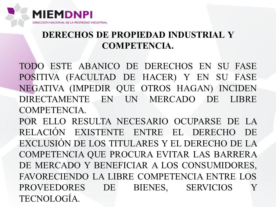 DERECHOS DE PROPIEDAD INDUSTRIAL Y COMPETENCIA.