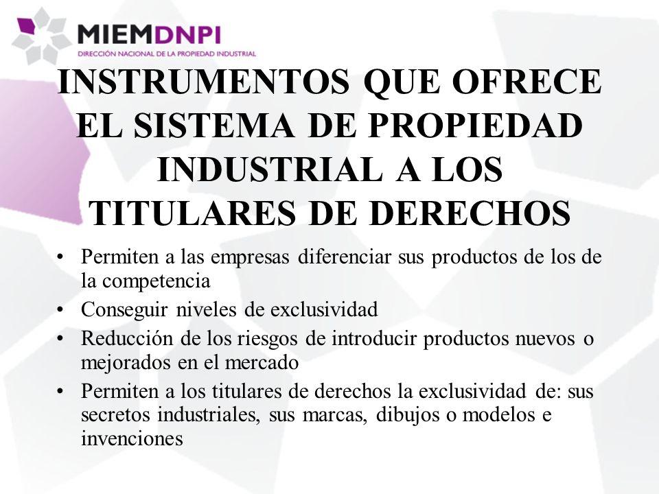 INSTRUMENTOS QUE OFRECE EL SISTEMA DE PROPIEDAD INDUSTRIAL A LOS TITULARES DE DERECHOS Permiten a las empresas diferenciar sus productos de los de la