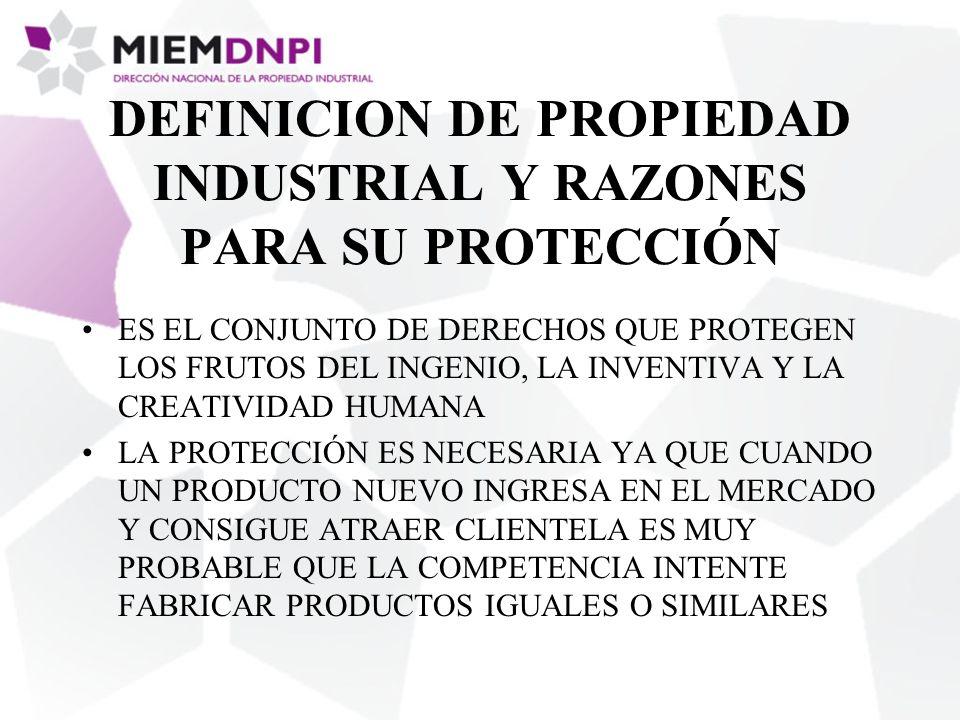 DEFINICION DE PROPIEDAD INDUSTRIAL Y RAZONES PARA SU PROTECCIÓN ES EL CONJUNTO DE DERECHOS QUE PROTEGEN LOS FRUTOS DEL INGENIO, LA INVENTIVA Y LA CREA