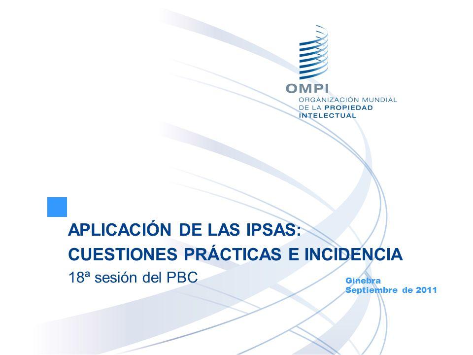 APLICACIÓN DE LAS IPSAS: CUESTIONES PRÁCTICAS E INCIDENCIA 18ª sesión del PBC Ginebra Septiembre de 2011