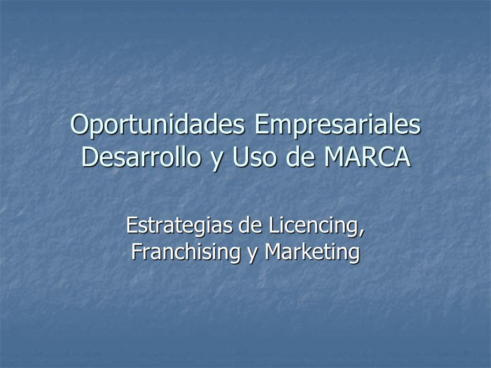 Oportunidades Empresariales Desarrollo y Uso de MARCA Estrategias de Licencing, Franchising y Marketing