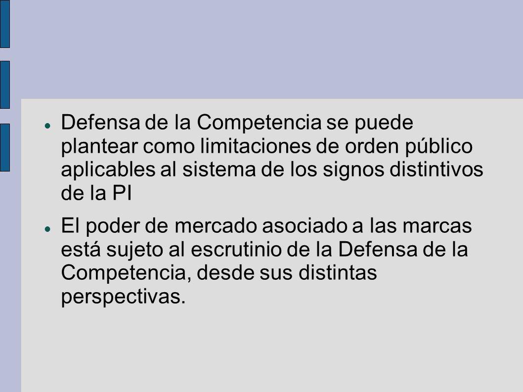 Defensa de la Competencia se puede plantear como limitaciones de orden público aplicables al sistema de los signos distintivos de la PI El poder de me