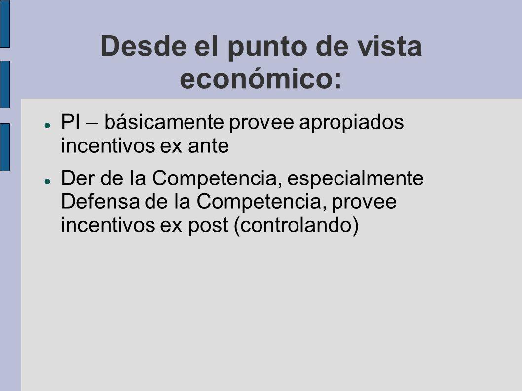 Desde el punto de vista económico: PI – básicamente provee apropiados incentivos ex ante Der de la Competencia, especialmente Defensa de la Competenci