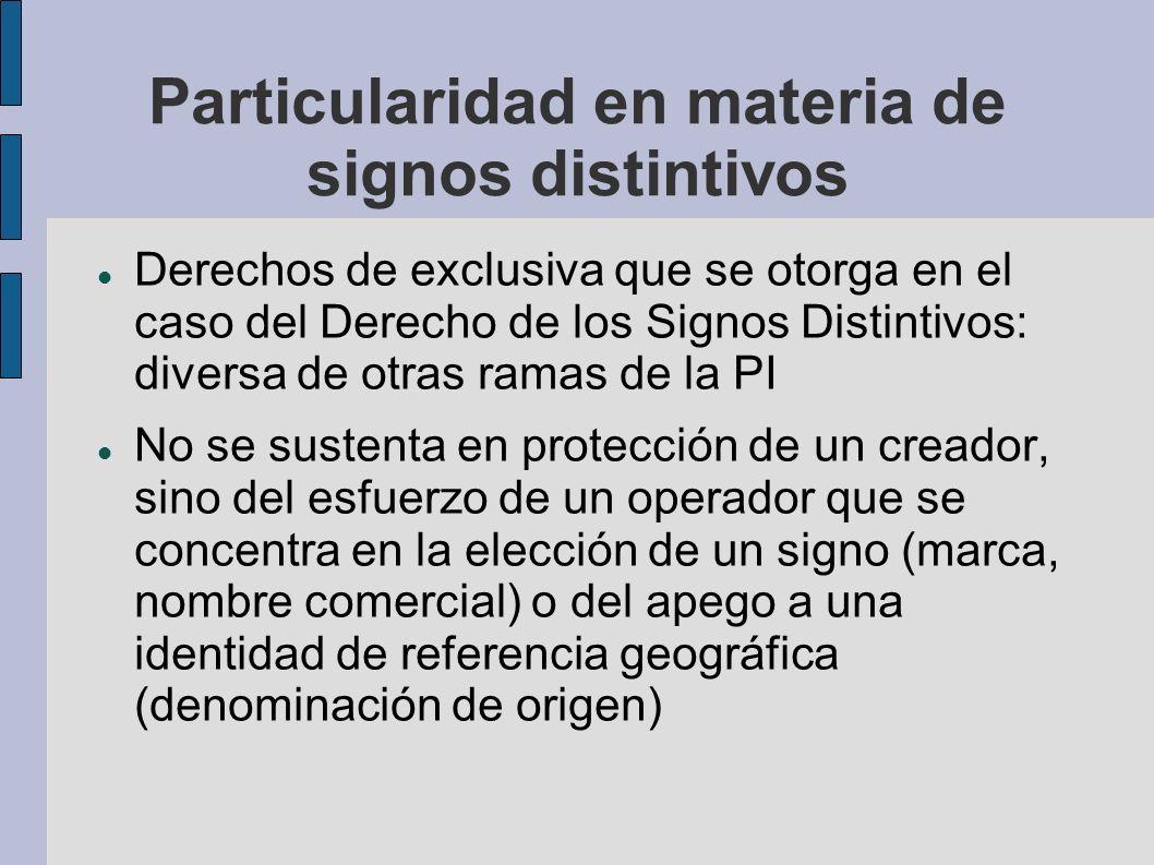 Particularidad en materia de signos distintivos Derechos de exclusiva que se otorga en el caso del Derecho de los Signos Distintivos: diversa de otras