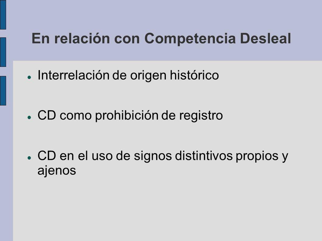 En relación con Competencia Desleal Interrelación de origen histórico CD como prohibición de registro CD en el uso de signos distintivos propios y aje