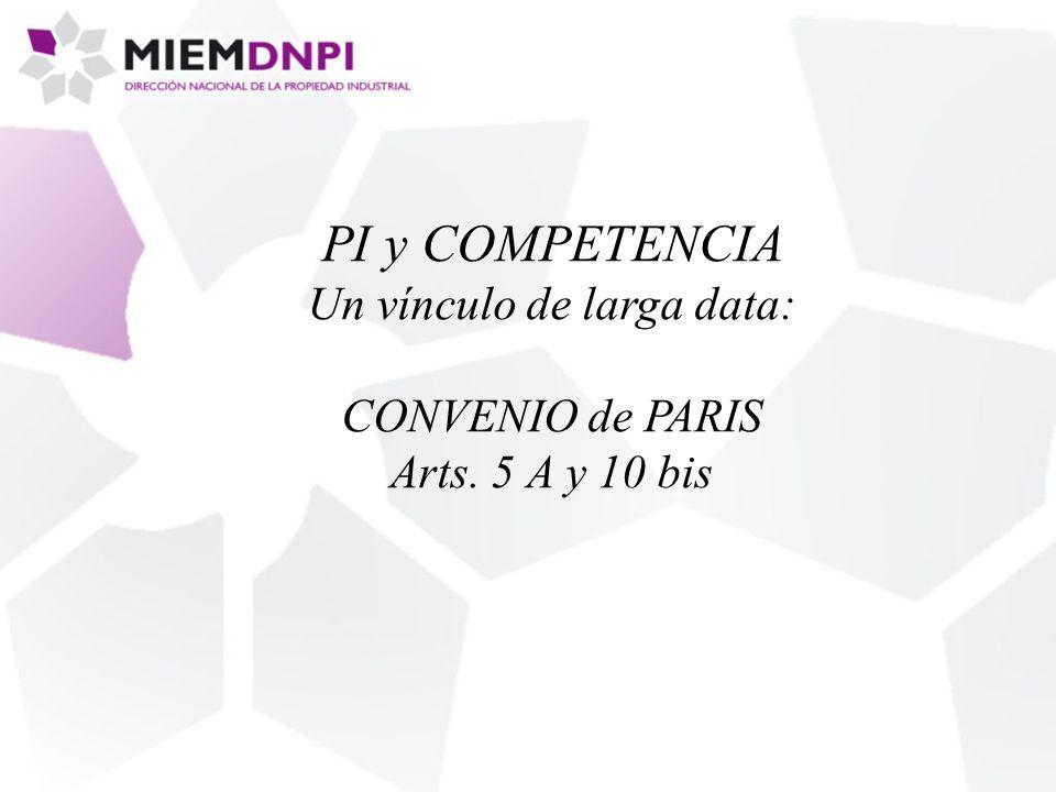 PI y COMPETENCIA Un vínculo de larga data: CONVENIO de PARIS Arts. 5 A y 10 bis