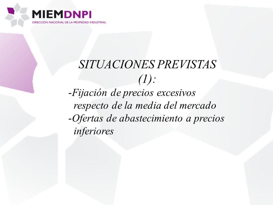 SITUACIONES PREVISTAS (1): -Fijación de precios excesivos respecto de la media del mercado -Ofertas de abastecimiento a precios inferiores