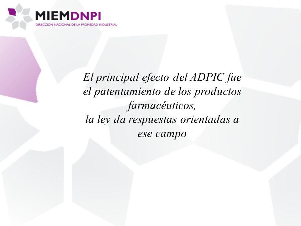 El principal efecto del ADPIC fue el patentamiento de los productos farmacéuticos, la ley da respuestas orientadas a ese campo