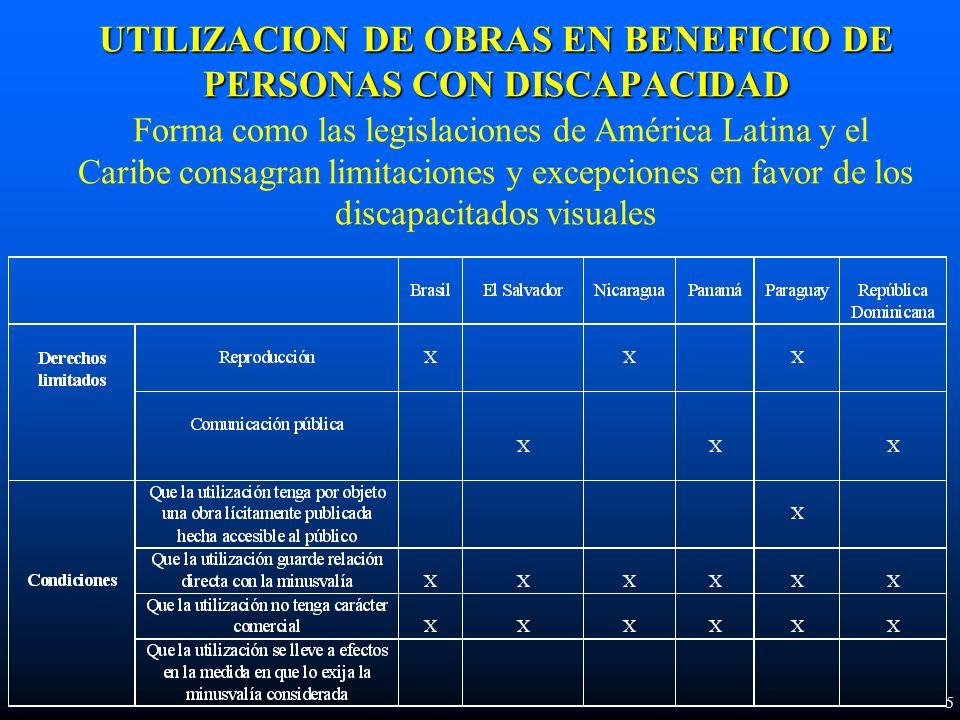 UTILIZACION DE OBRAS EN BENEFICIO DE PERSONAS CON DISCAPACIDAD UTILIZACION DE OBRAS EN BENEFICIO DE PERSONAS CON DISCAPACIDAD Forma como las legislaciones de América Latina y el Caribe consagran limitaciones y excepciones en favor de los discapacitados visuales 5
