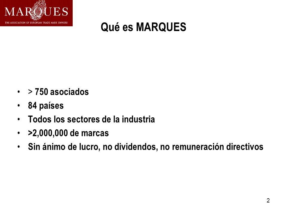 2 Qué es MARQUES > 750 asociados 84 países Todos los sectores de la industria >2,000,000 de marcas Sin ánimo de lucro, no dividendos, no remuneración