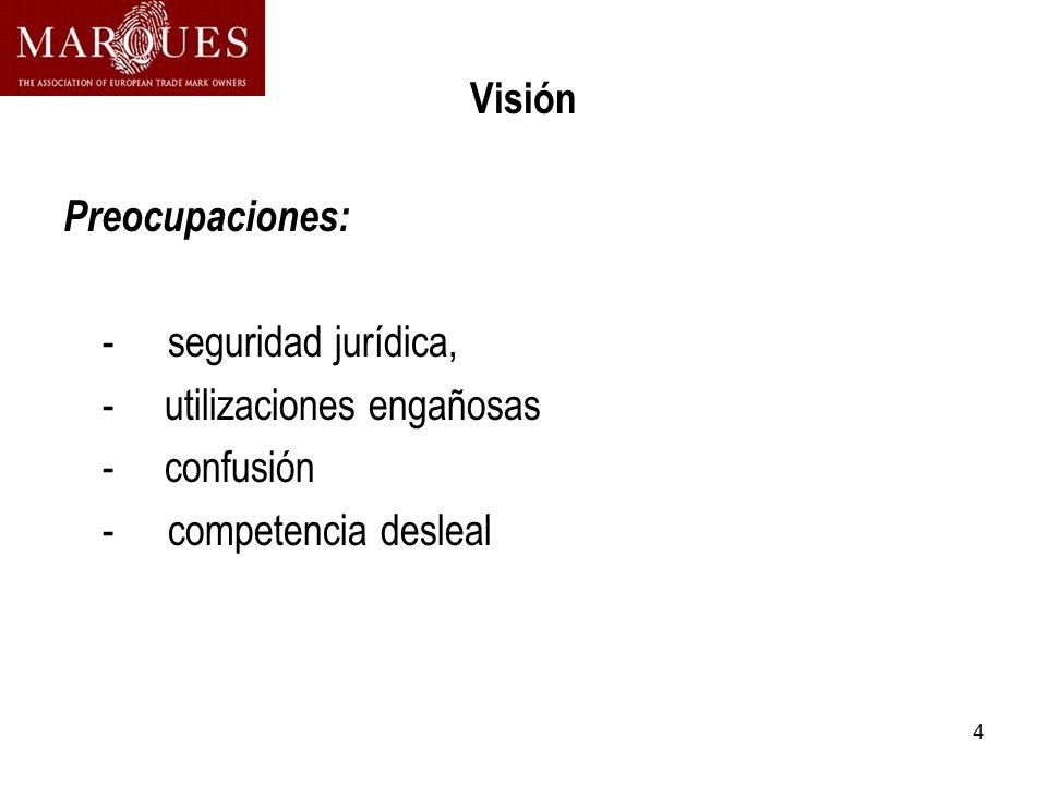 4 Visión Preocupaciones: -seguridad jurídica, - utilizaciones engañosas - confusión -competencia desleal