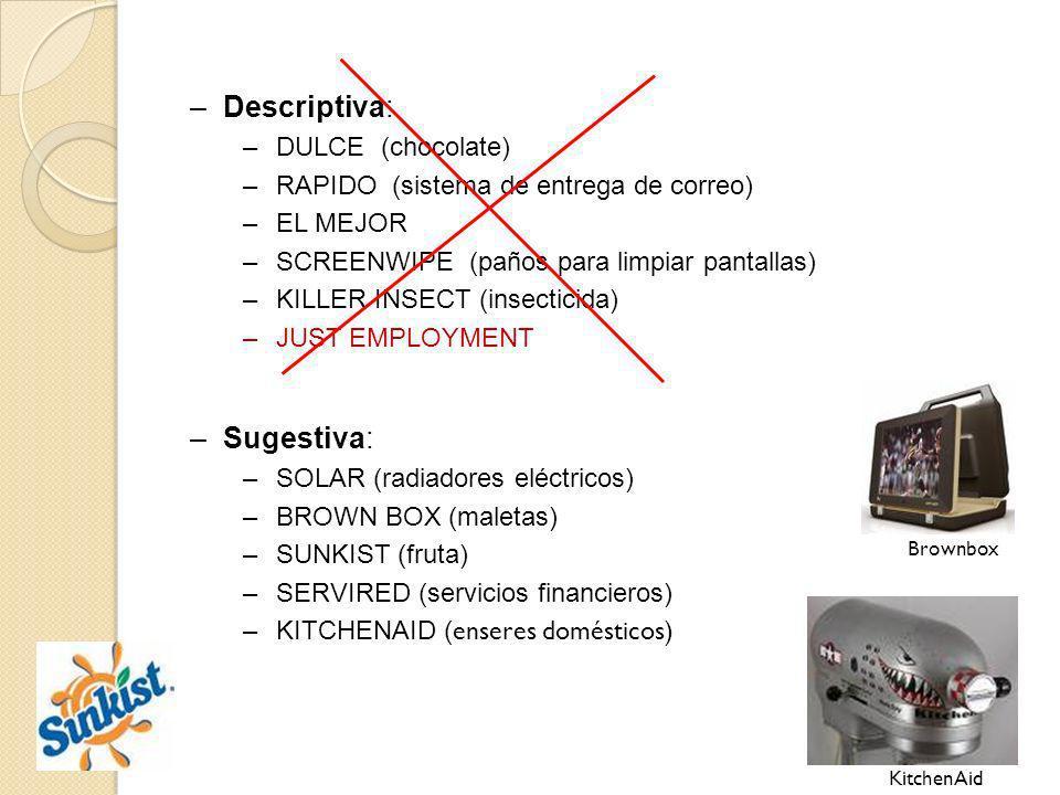 –Descriptiva: –DULCE (chocolate) –RAPIDO (sistema de entrega de correo) –EL MEJOR –SCREENWIPE (paños para limpiar pantallas) –KILLER INSECT (insectici
