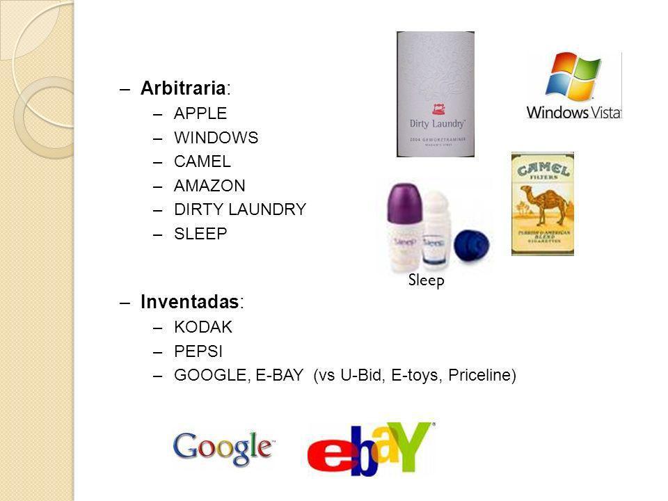 –Inventadas: –KODAK –PEPSI –GOOGLE, E-BAY (vs U-Bid, E-toys, Priceline) –Arbitraria: –APPLE –WINDOWS –CAMEL –AMAZON –DIRTY LAUNDRY –SLEEP Sleep